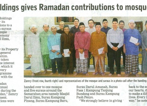 Naim Holdings gives Ramadan contributions to mosque, suraus