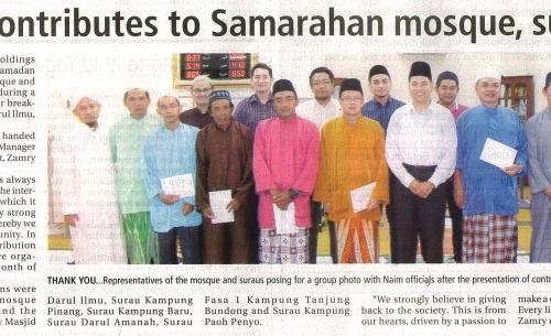 Naim contributes to Samarahan mosque, suraus