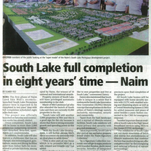 South Lake full completion in eight years' time – Naim
