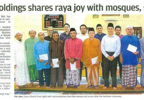 Naim Holdings shares raya joy with mosques, suraus