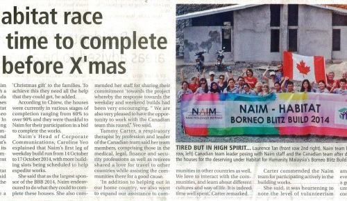 Naim-Habitat race against time to complete houses before X'mas