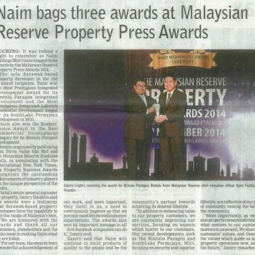 Naim bags three awards at Malaysian Reserve Property Press Awards