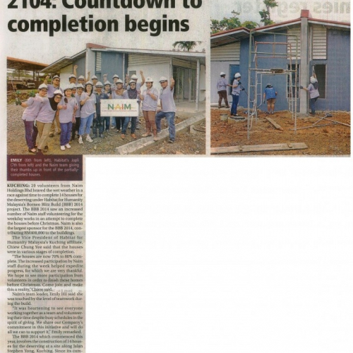 Naim-Habitat's BBB 2014: Countdown to completion begins