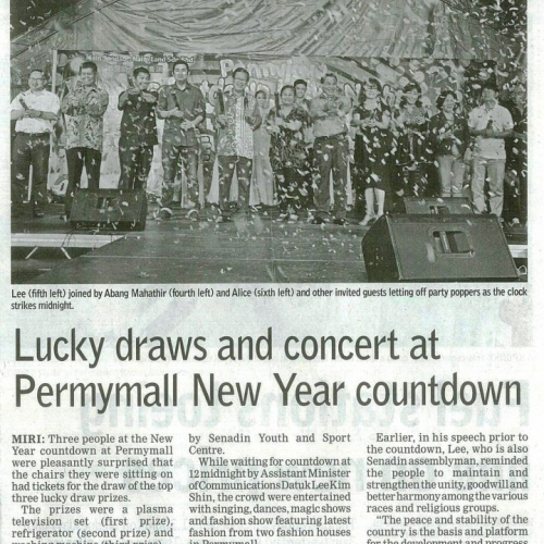 Lucky draws and concert at Permymall New Year countdown