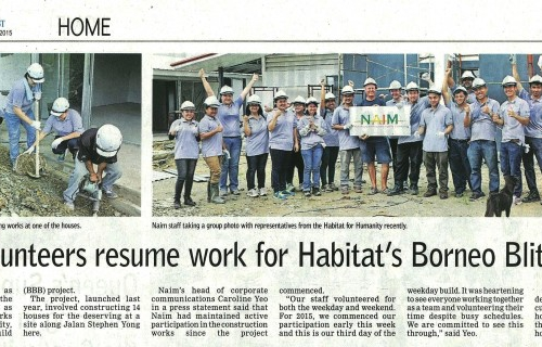 Naim volunteers resume work for Habitat's Borneo Blitz Build
