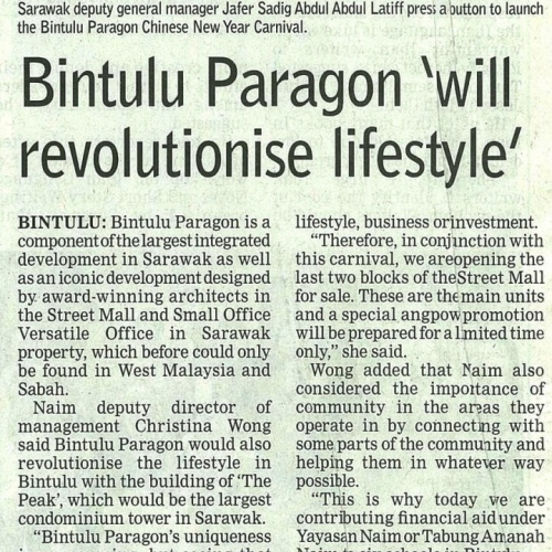 Bintulu Paragon 'will revolutionise lifestyle'