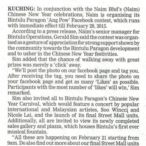 Naim Organises Bintulu Paragon 'Ang Pow' Facebook contest