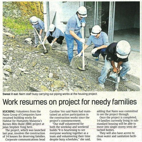 Work resumes on project for needy families