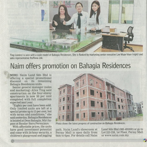 Naim offers promotion on Bahagia Residences