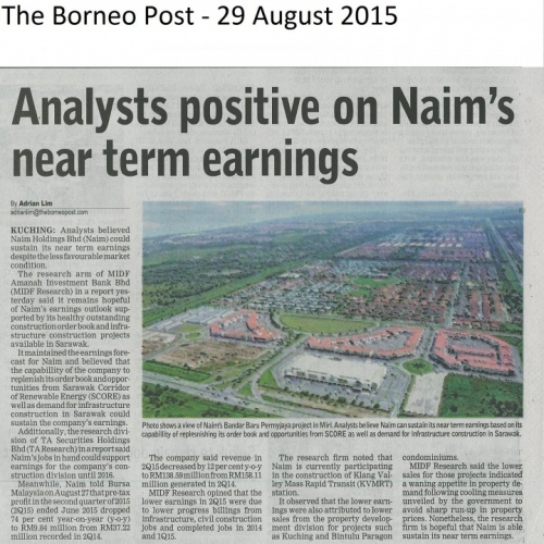 Analysts positive on Naim's near term earnings