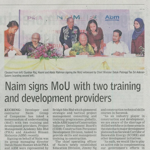 Naim sins MoU with two training and development providers