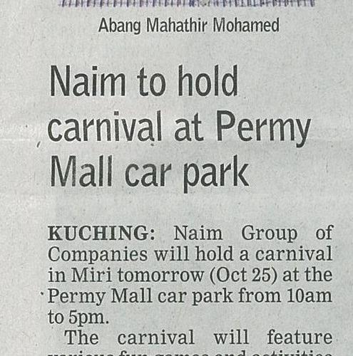 Naim to hold carnival at Permy Mall car park