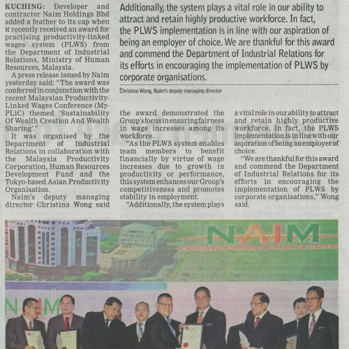 Naim wins award for practising system of productivity-linked wages