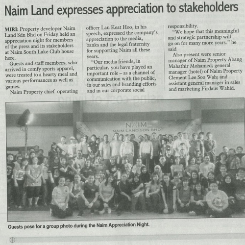 Naim Land expresses appreciation to stakeholders