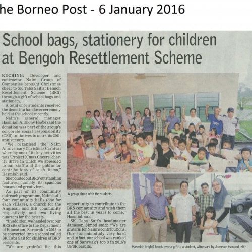 School bags, stationery for children at Bengoh Resettlement Scheme