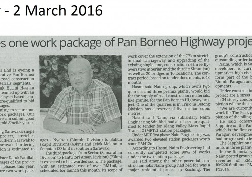 Naim eyes on work package of Pan Borneo Highway project