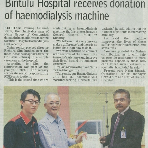 Bintulu Hospital receives donation of haemodialysis machine