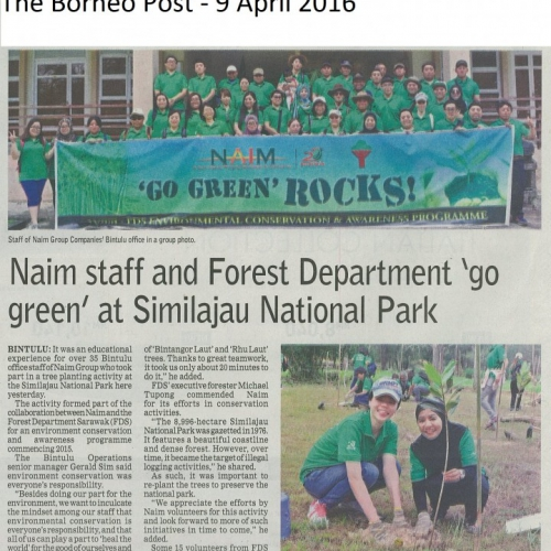 Naim staff and Forest Department 'go green' at similajau National Park