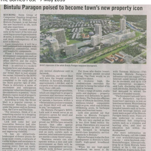 Bintulu Paragon poised to become town's new property icon