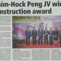 Naim-Hock Peng JV wins construction award