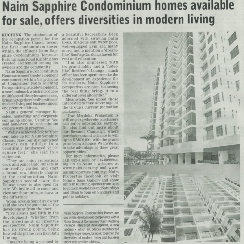 Naim Sapphire Condominium homes available for sale, offers diversities in modern living