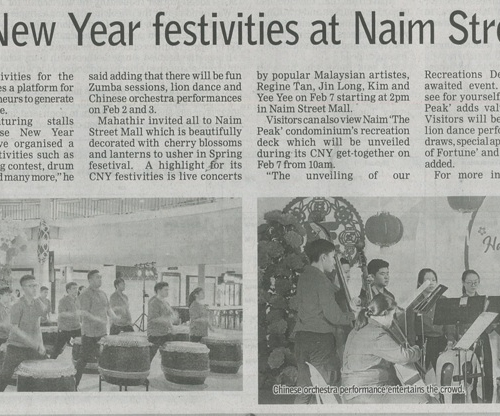 Enjoy Chinese New Year festivities at Naim Street Mall