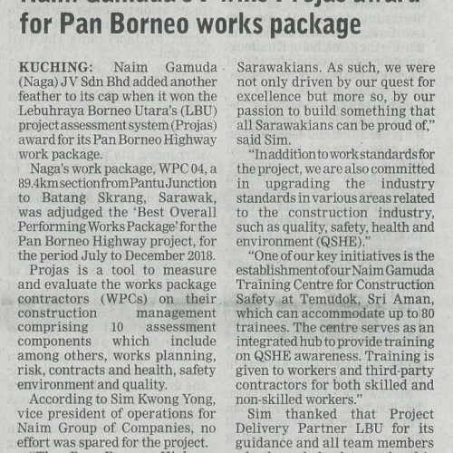 Naim Gamuda JV wins Projas award for Pan Borneo works package