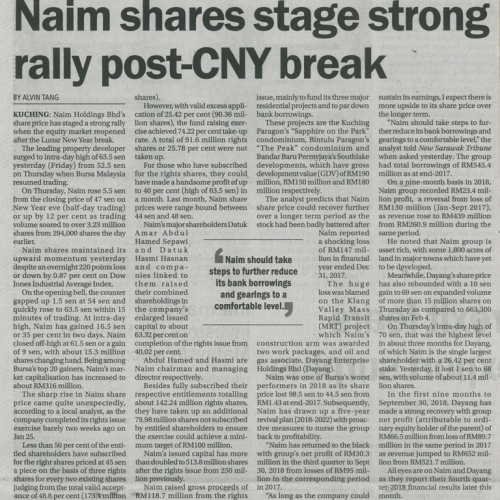 Naim shares stage strong rally post-CNY break