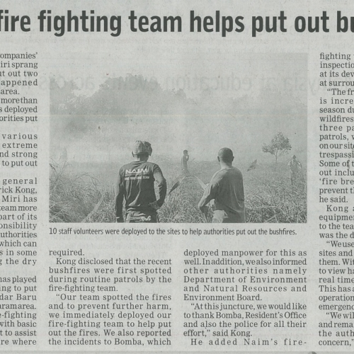 Naim's fire fighting team helps put out bushfires