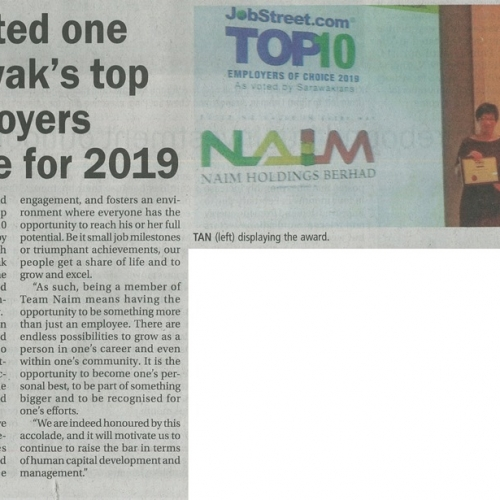 Naim voted one of Sarawak's top 10 employers of choice for 2019