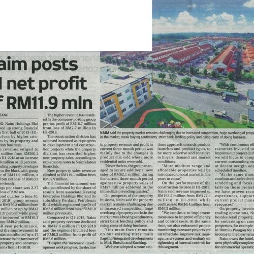 Naim posts H1 net profit of RM11.9 mln