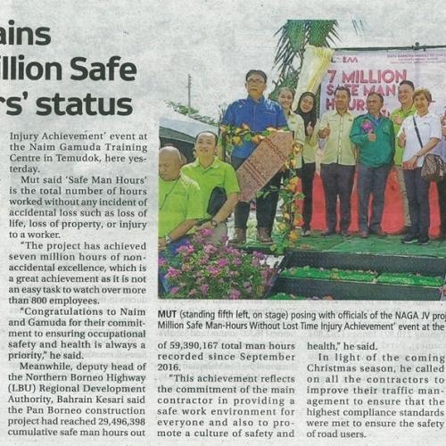 Naga attains 'Seven Million Safe Man Hours' status